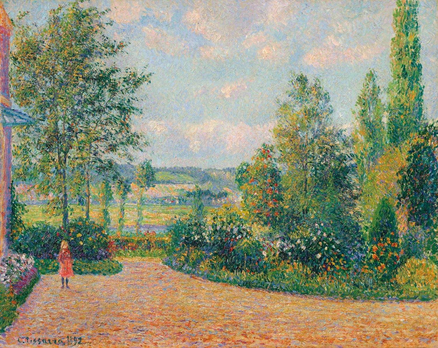 Camille Pissarro (1830-1903). Le Jardin dOctave Mirbeau, la terrasse, Les Damps, 1892. Oil on canvas.  28 ¾ x 36 ¼ in. Estimate $3,000,000-5,000,000. Offered in the Impressionist and Modern Art Evening Sale on 13 May at Christie's in New York. The Robert B. and Beatrice C. Mayer Family Collection