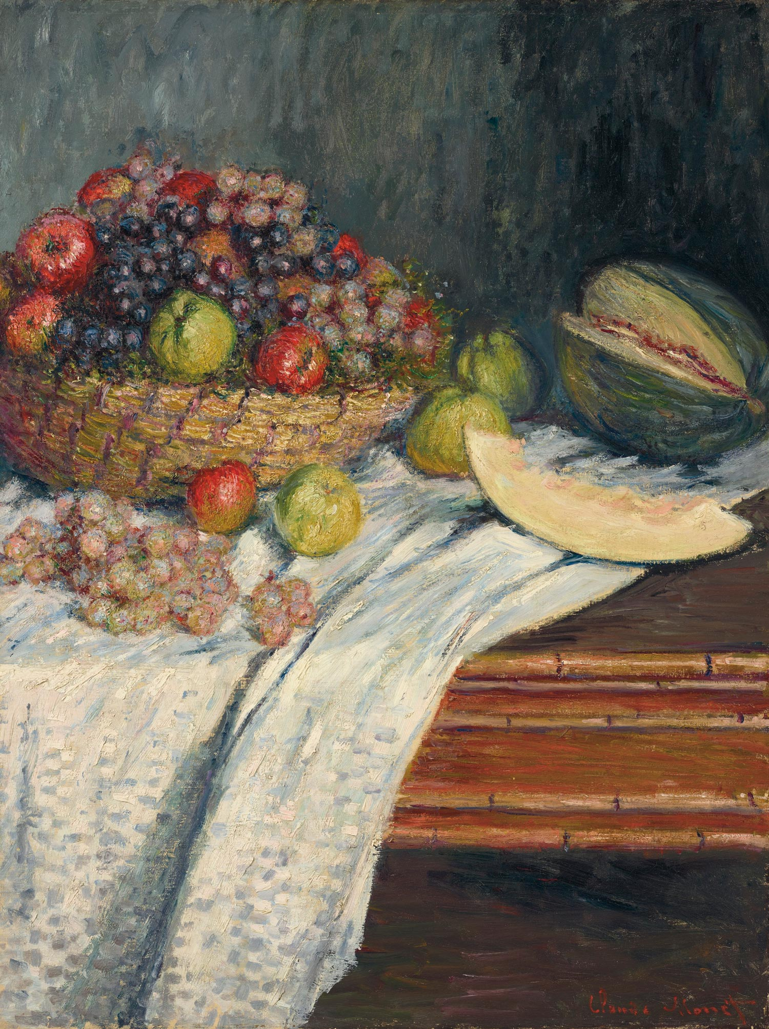 Claude Monet (1840-1926), Nature morte au melon d'Espagne, 1879. Oil on canvas. 35 ½ x 26 ¾ in. Estimate $2,000,000-4,000,000. Offered in the Impressionist and Modern Art Evening Sale on 13 May at Christie's New York. Property from the Collection of Frederick A. and Sharon L. Klingenstein