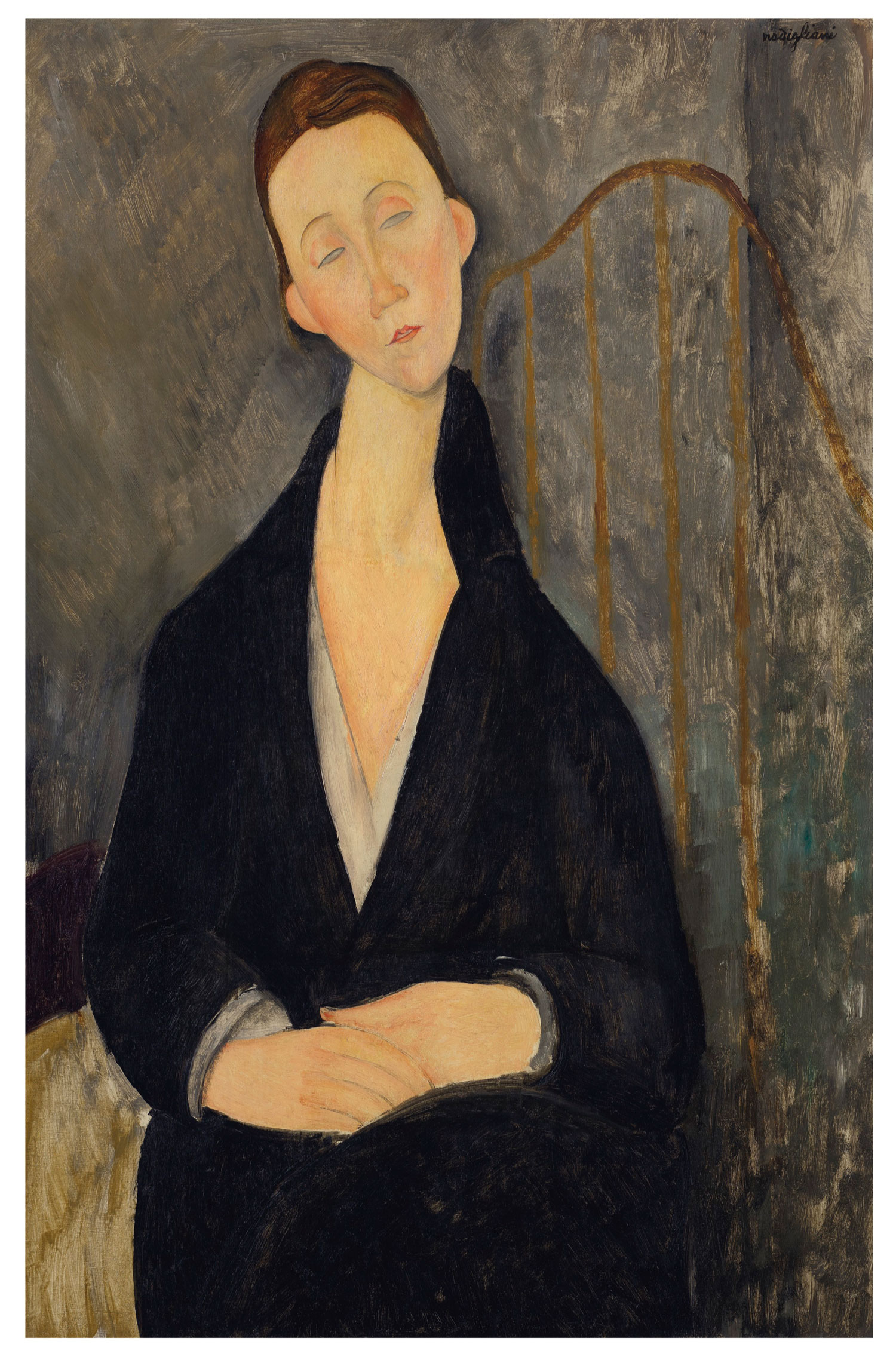 Amedeo Modigliani (1884-1920) Lunia Czechowska (à la robe noire), 1919. Oil on canvas. 36 ⅜ x 23 ⅝ in (92.4 x 60 cm). Estimate $12,000,000-18,000,000. This work is offered in the Impressionist & Modern Art Evening Sale on 13 May at Christie's in New York. The Collection of Drue Heinz