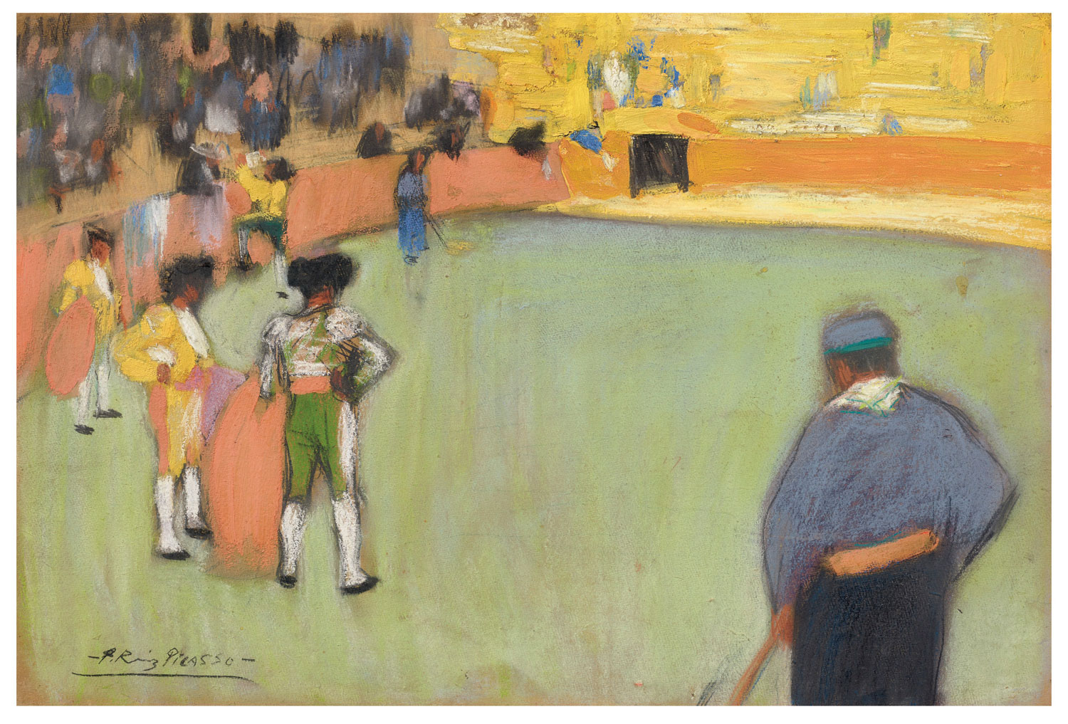 Pablo Picasso (1881-1973), Course de taureaux, 1900. Gouache and pastel on board. 18 ½ x 27 ½ in. (47.1 x 70 cm.). Estimate $3,500,000-5,500,000. This work is offered in the Impressionist & Modern Art Evening Sale on 13 May at Christie's in New York. The Collection of Drue Heinz