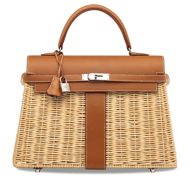 A limited edition Naturel Barénia   Osier Picnic Kelly 35 with palladium  hardware f485dc53ac