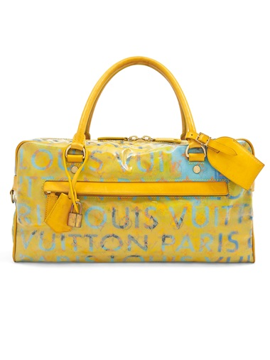 A set of two a denim Monogramouflage Jasmin and a pulp jaune calfskin & blue coated Denim Defilé PM by Richard Prince, Louis Vuitton, 2008. 39 w x 19 h x 13 d cm. Estimate £1,000-1,500. This lot is offered in Handbags & Accessories on 12 December 2018 at Christie's in London