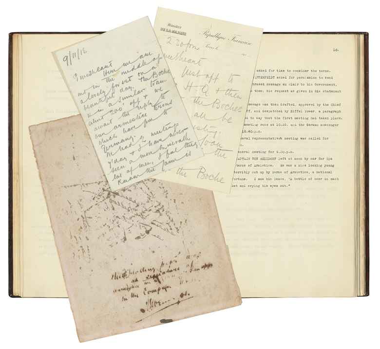 World War One — Armistice. Captain J.P.R. Marriott (1879-1938). Typescript letters, letters and original ephemera from the negotiations and signature of the Armistice in the Forest of Compiègne, 7-11 November 1911. Estimate £10,000-15,000. Offered in Books & Manuscripts on 12 December at Christie's in London