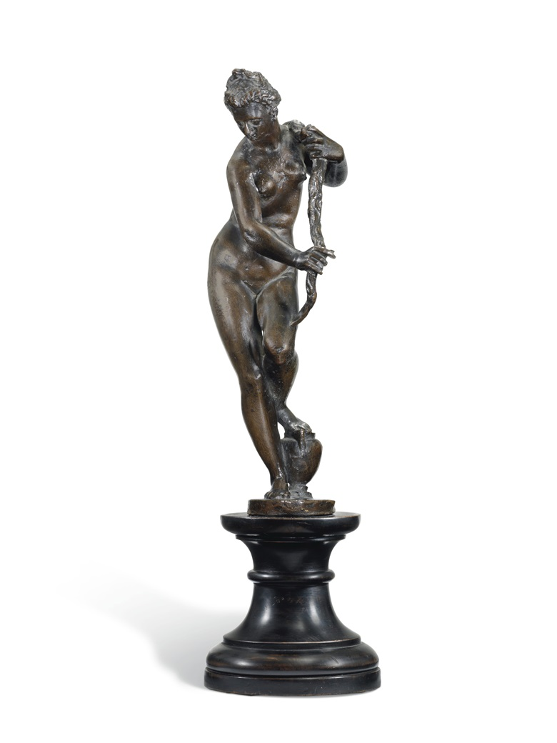 Allegorical Figure of Florence, Italian, 17th Century, after a model by Giambologna, 37.3 cm. high, overall. Estimate £5,000-8,000. Offered in European Sculpture on 4 December 2018 at Christies in London