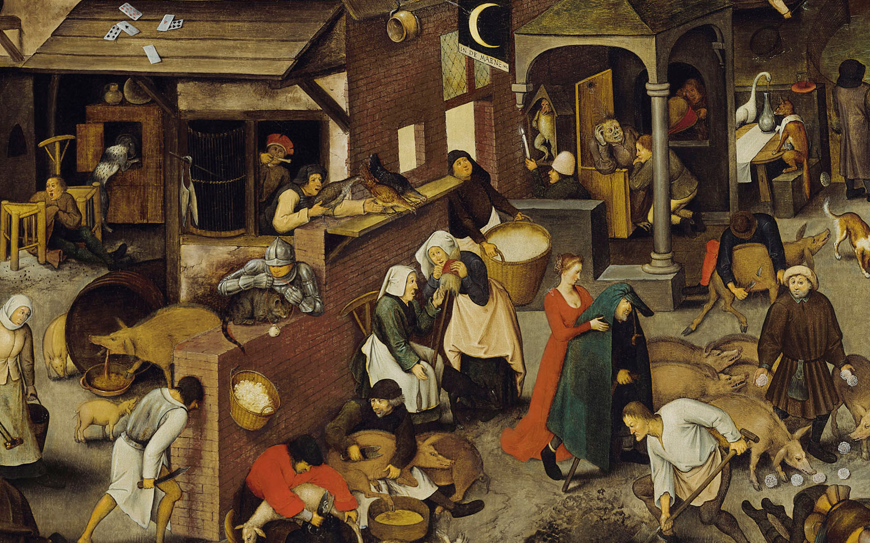(Detail of) Pieter Brueghel, the Younger (15645-16378), The Netherlandish Proverbs. 47¾ x 65⅝  in (121.3 x 166.7  cm). Estimate £3,500,000-5,500,000. Offered in Old Masters Evening