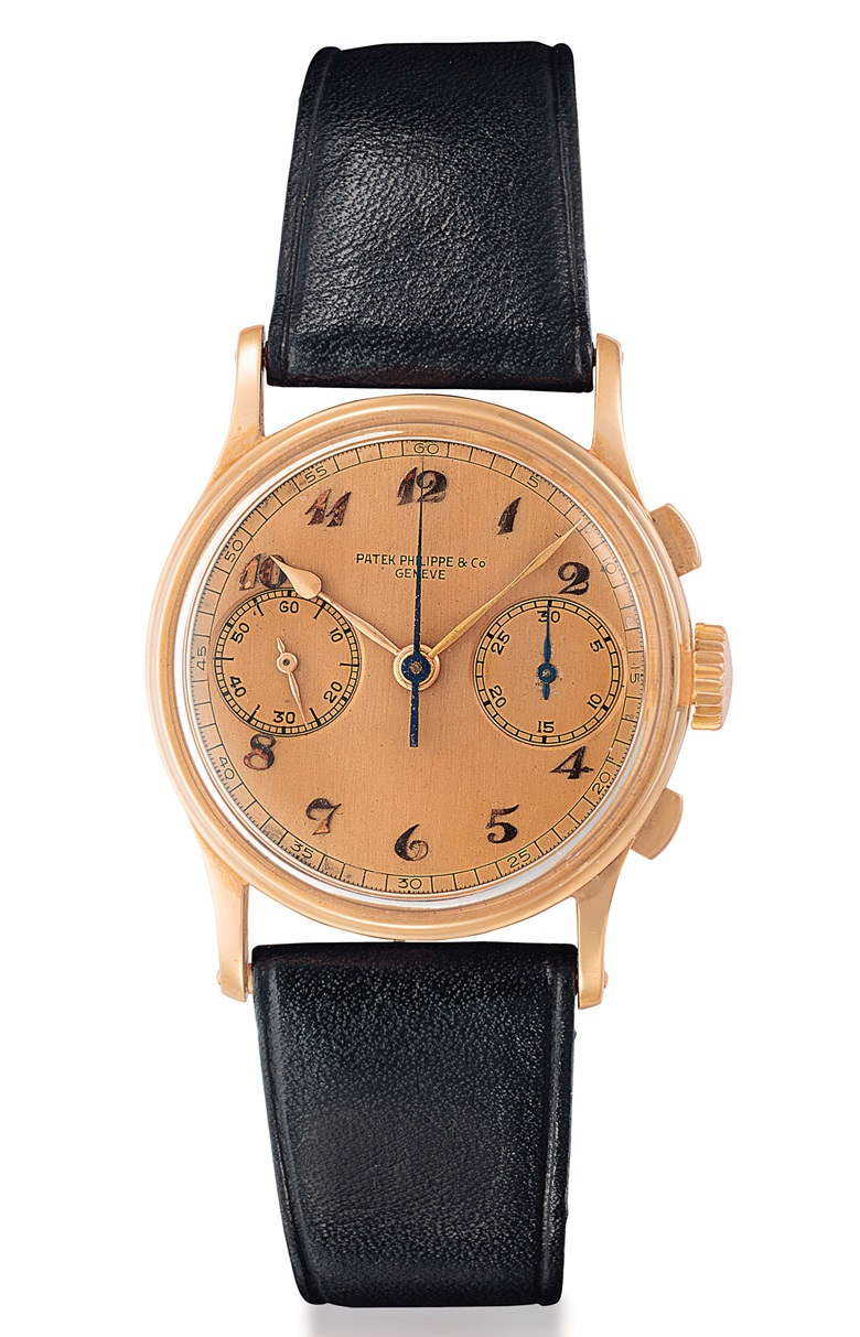 Patek Philippe. A fine and rare 18k pink gold chronograph wristwatch with pink dial and Breguet numerals. Signed Patek Philippe & Co., Genève, Ref. 130, Manufactured in 1939. Sold for $150,000 on 6 December 2018 at Christie's in New York