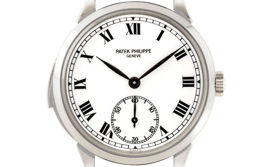 Patek Philippe. An extremely fine and very rare platinum automatic minute repeating wristwatch with enamel dial. Signed Patek Philippe. Sold for HK$2,980,000 on 26 November 2018 at