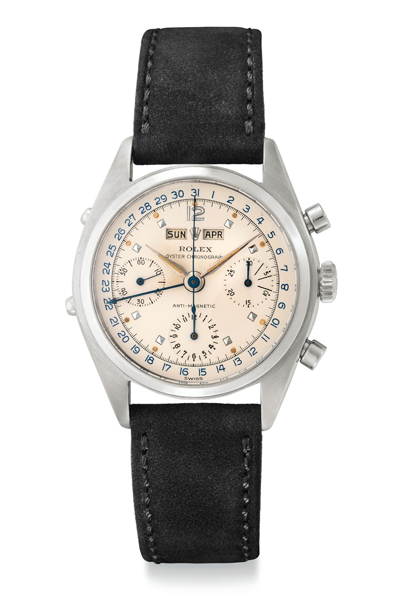 A very fine and rare stainless steel triple calendar chronograph wristwatch. Signed Rolex, Oyster Chronograph, anti-magnetic, ref. 6036, circa 1963. Price realised $250,000 on 6 December 2018 at Christie's in New York