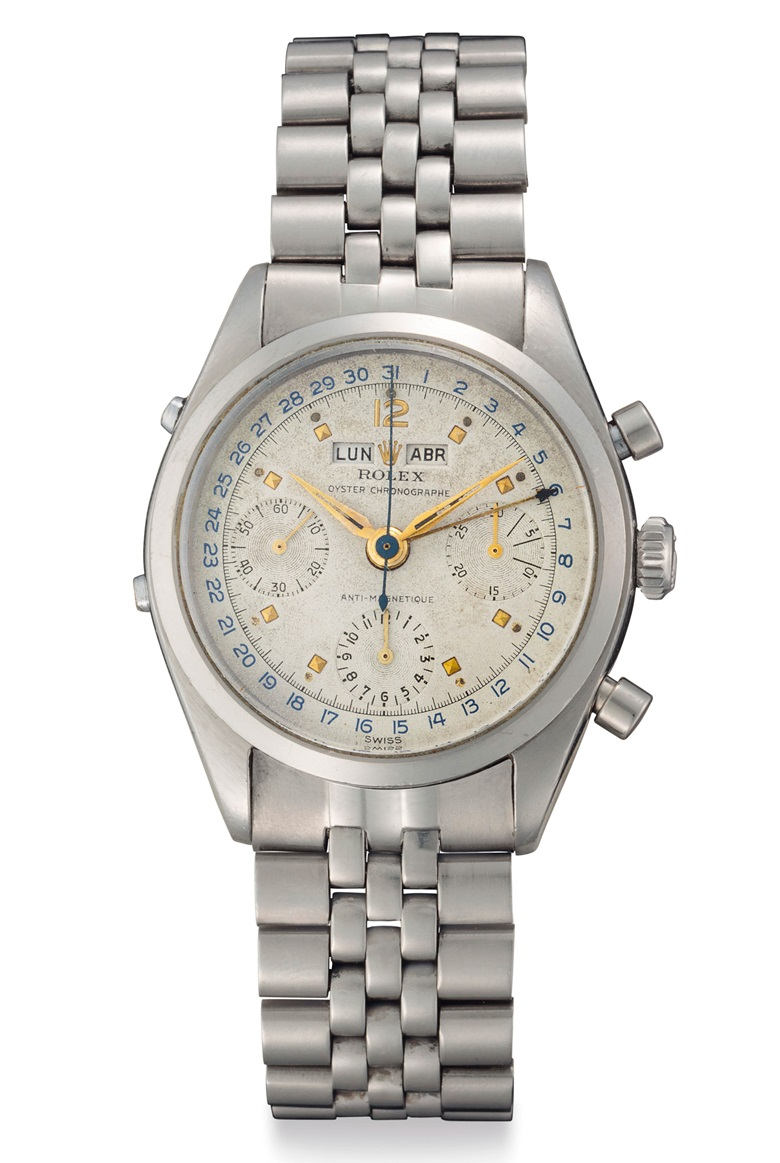 Rolex. A very fine and rare stainless steel triple calendar Chronograph wristwatch. Signed Rolex, Oyster Chronograph, anti-magnetic, ref. 6236, circa 1958. Price realised $87,500 on 6 December 2018 at Christie's in New York