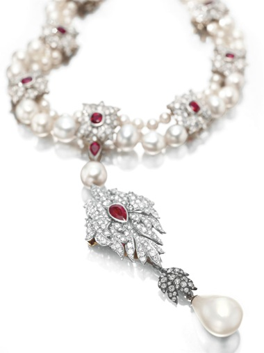 La Peregrina a natural pearl, diamond, ruby and cultured pearl necklace, by Cartier. Sold for $11,842,500 on 13 December 2011 at Christie's in New York