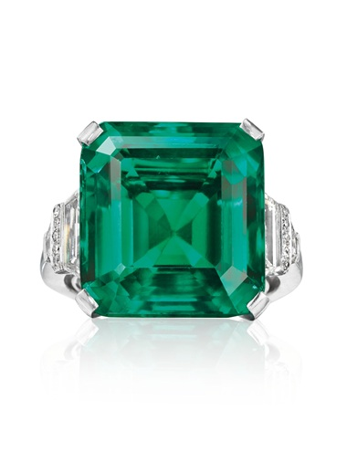 The Rockefeller Emerald a rare and historic emerald and diamond ring, by Raymond Yard. Sold for $5,511,500 on 20 June 2017 at Christie's in New York