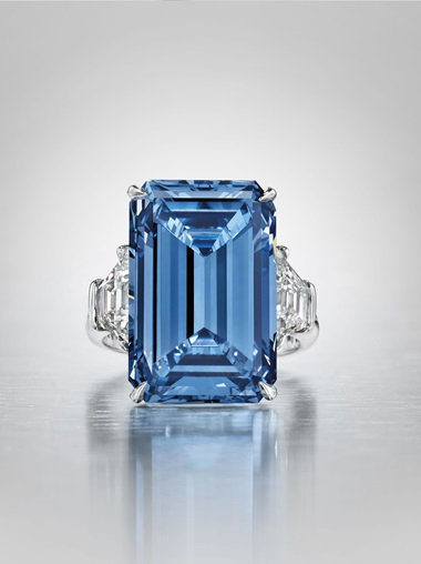 The Oppenheimer Blue a sensational coloured diamond ring. Sold for CHF 56,837,000 on 18 May 2016 at Christie's in Geneva