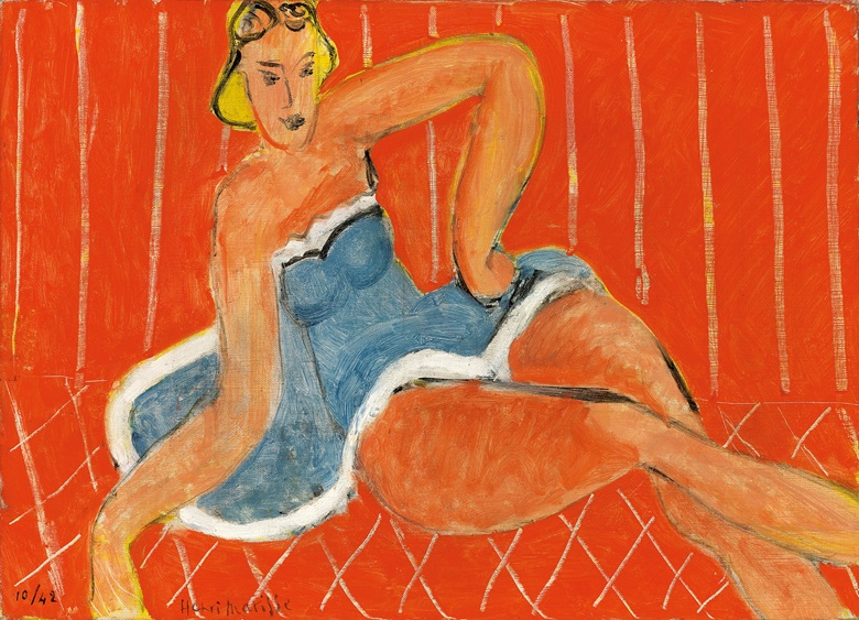 Henri Matisse (1869-1954), Danseuse allongée, fond rouge, 1942. Oil on canvas. 13 x 18⅜ (33 x 46.5 cm). Offered in Hidden Treasures on 27 February 2019 at Christie's in London