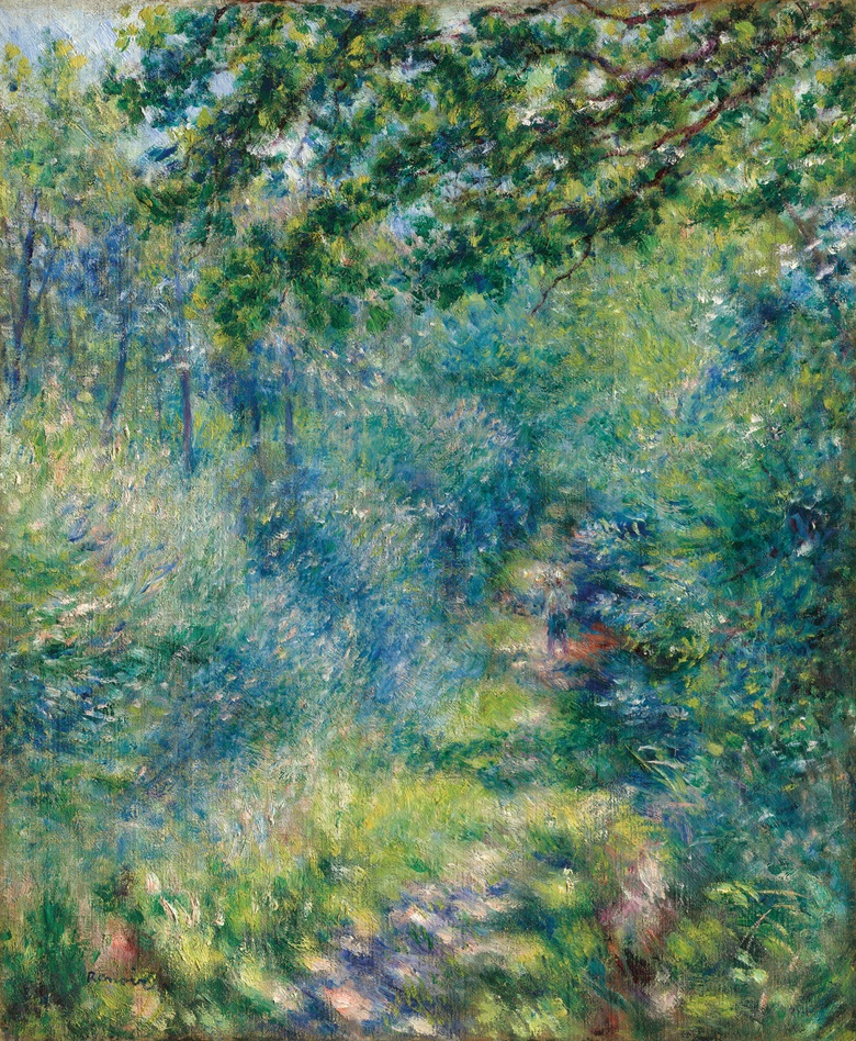 Pierre-Auguste Renoir (1841-1919), Sentier dans le bois, 1874-77. Oil on canvas, 25¾ x 21¼ in (65.5 x 54 cm). Offered in Hidden Treasures on 27 February 2019 at Christie's in London