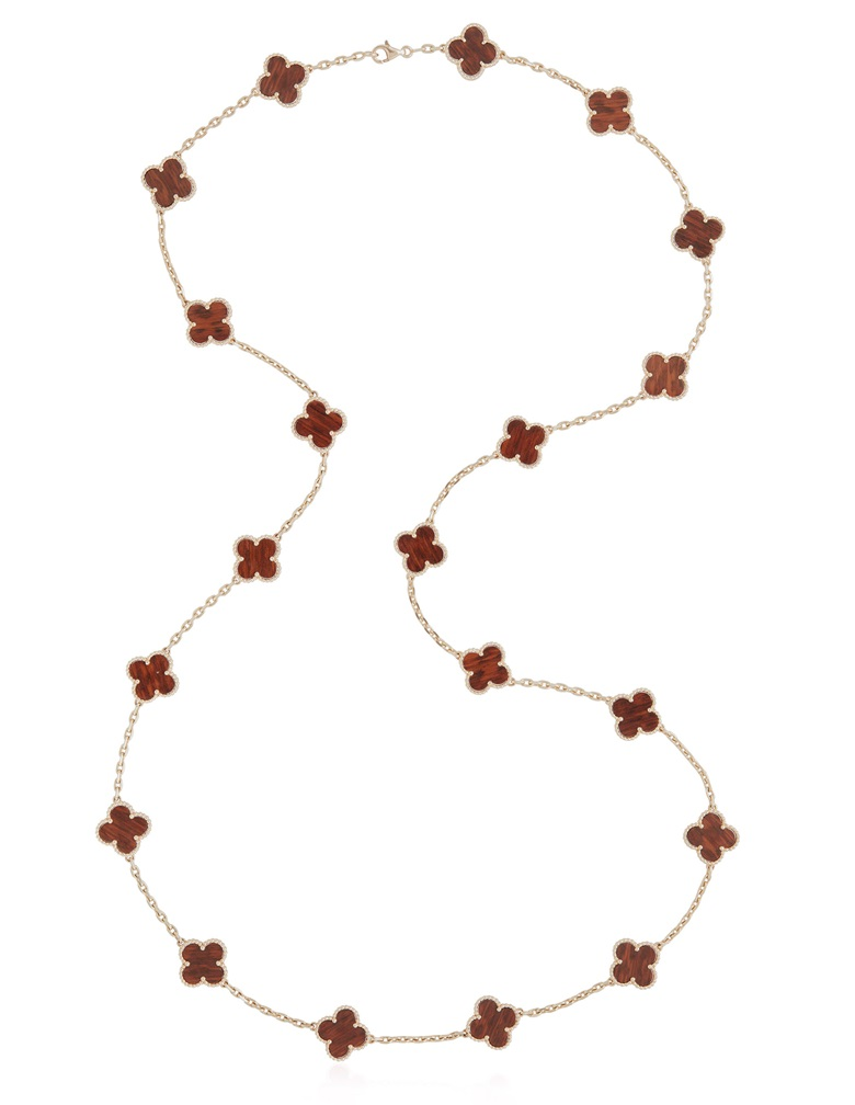 Wood 'Vintage Alhambra' long chain necklace, Van Cleef & Arpels. Estimate $8,000-12,000. Offered on 6 December 2018, Christie's Jewels Online, New York