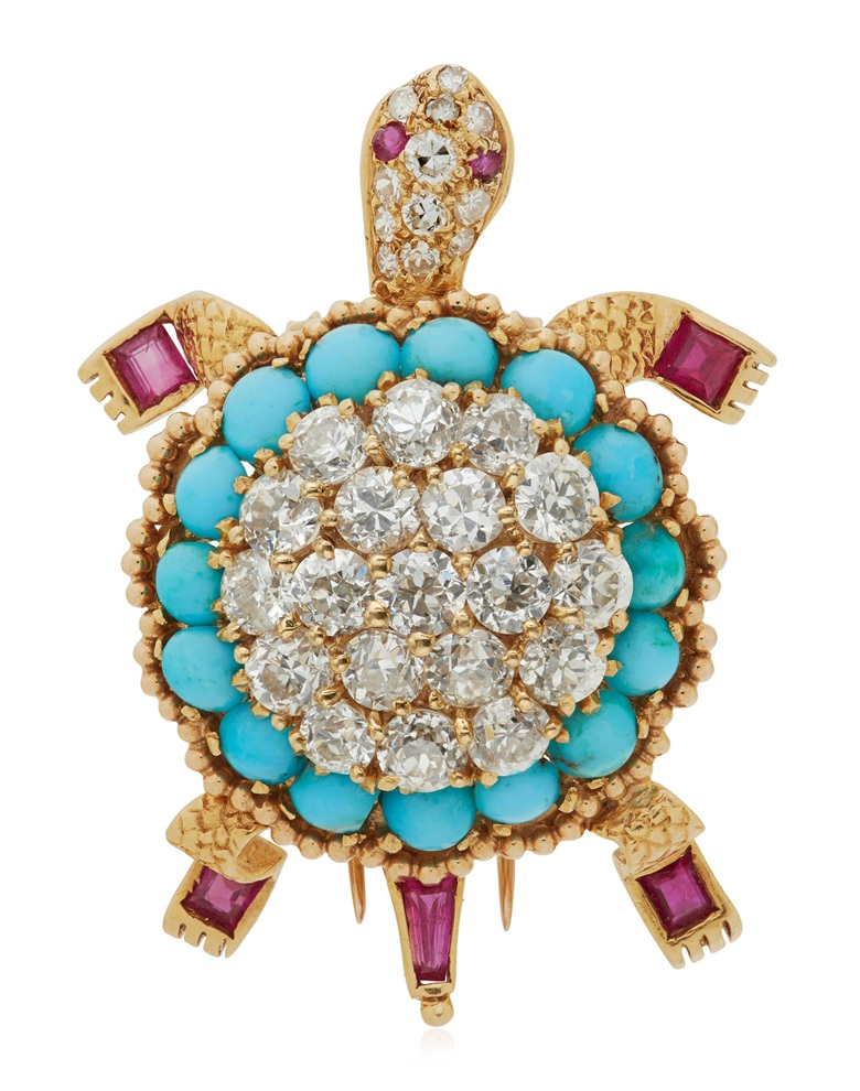 Diamond, turquoise and ruby Turtle brooch, Van Cleef & Arpels. Sold $13,750 for on 6 December 2018, Online