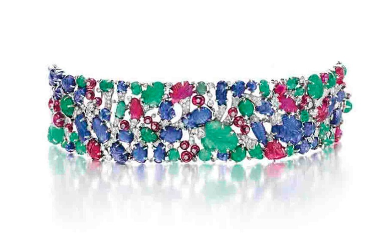 An Art Deco diamond and multi-gem Tutti Frutti bracelet, by Cartier. Sold for $962,500 on 18 October 2011 at Christie's in New York