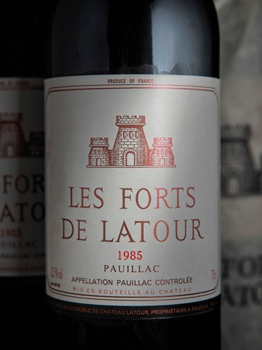 Les Forts de Latour 1985 In original wooden case. 2 magnums and 6 bottles per lot. Estimate £1,000-1,200. Sold for £1,440 on 28-29 November 2018 at Christie's in London