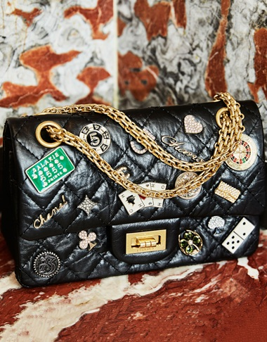 c419fe8a862c A black aged calfskin leather Lucky Charms Casino 2.55 reissue medium flap  bag with gold hardware