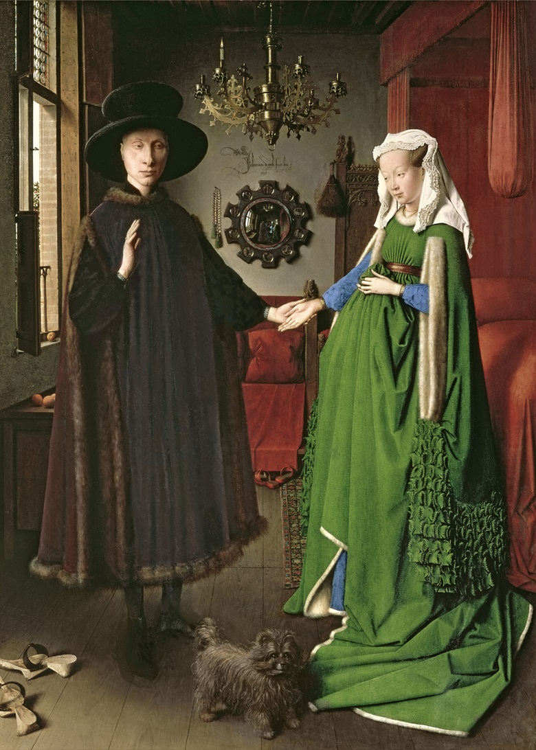 Jan van Eyck, The Portrait of Giovanni () Arnolfini and His Wife Giovanna Cenami () (The Arnolfini Marriage), 1434. National Gallery, London, UKBridgeman Images
