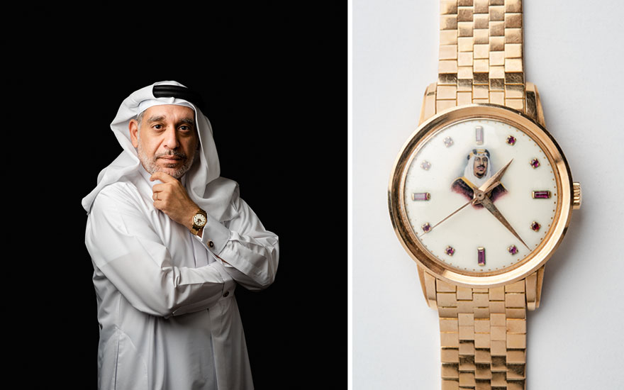 Mishal Kanoo and his Patek Philippe watch with King Saud of Saudi Arabia on the face. Photographs by Siddharth Siva