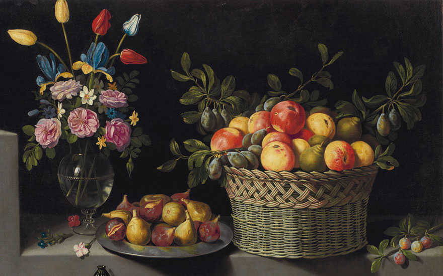 Detail of Juan van der Hamen y Leóns (1598-1631) Still Life with Flowers and Fruit. Oil on canvas, 33¼ x 51½ in. (84.5 x 130.8 cm.) Estimate $6,000,000-$9,000,000. Offered in Masterworks from the