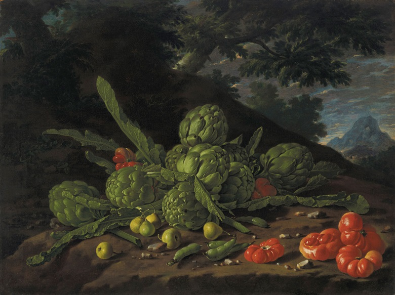 Luis Eugenio Meléndez (1716–1780) Still Life with artichokes and tomatoes in landscape. Oil on canvas, 24¼ x 32¼ in (61.6 x 81.9 cm). Estimate $2,000,000-$4,000,000. Offered in Masterworks from the Estate of Lila and Herman Shickman on 1 May 2019 at Christie's in New York