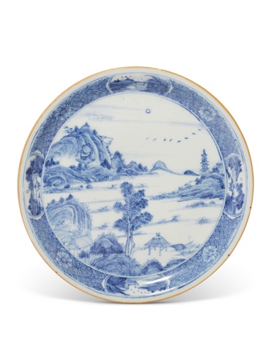 A blue and white landscape dish, Yongzheng six-character mark in underglaze blue and of the period (1723-1735). 6¾ in (17.2 cm) diam. Estimate $8,000-12,000. Offered in The Art of China New York, Winter Edition, 5-12 December 2018, Online