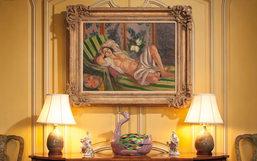 Henri Matisse s (1869-1954), Odalisque couchée aux magnolias hanging in the Rockefellers Hudson Pines estate. Artwork © Succession H. Matisse DACS 2018