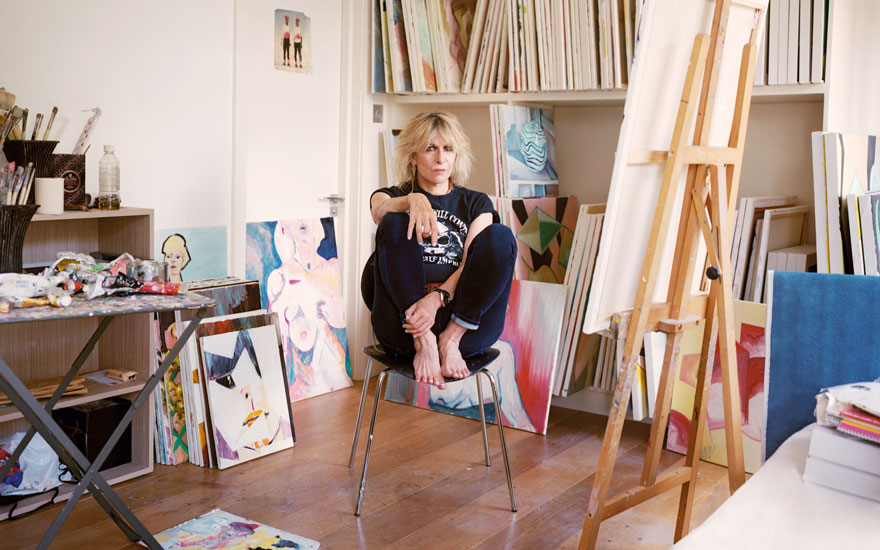 Chrissie Hynde in her studio, surrounded by her paintings. Artworks © Chrissie Hynde. All photographs by Gabby Laurent