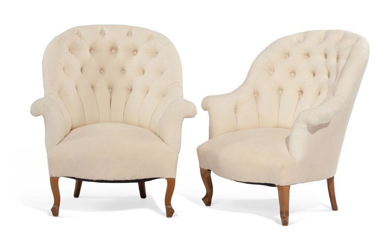 A pair of plain slipper chairs are transformed with the addition of slipcovers, pictured right