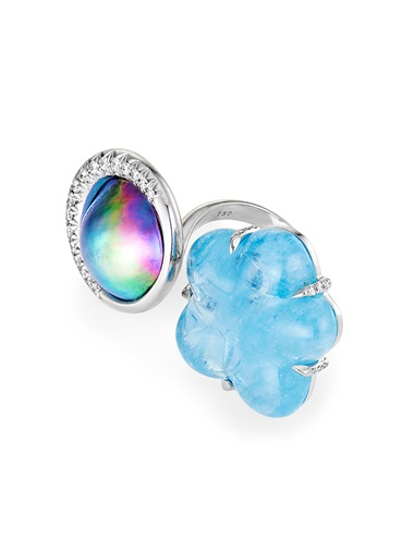 Cloud 9 ring, 18 carat white gold, 32.4 carat aquamarine, Sea of Cortez pearl, and 0.36 carat white diamonds, 48 mm x 25 mm. Price on request. Offered for sale at Christie's during The Protagonist  event on 10 December