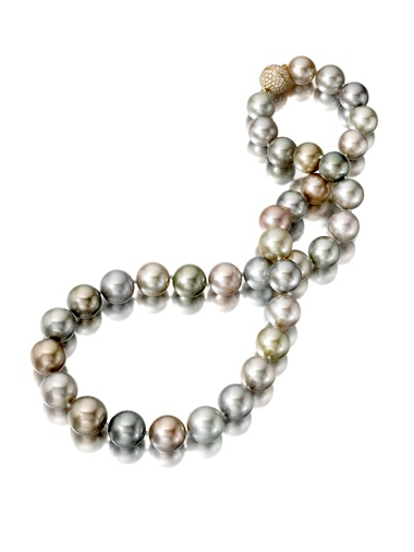Assael, round Fijian natural colour cultured pearl necklace, consisting of eco-farmed pearls with an 18 carat yellow gold clasp with diamonds 1.32 carats. Price on request. Offered for sale at Christie's during The Protagonist  event on 10 December