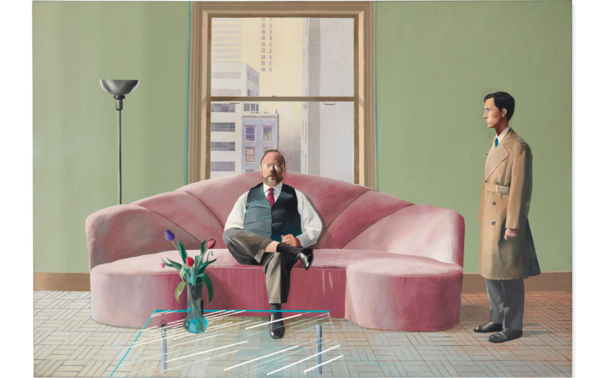 David Hockney (b. 1937), Henry Geldzahler and Christopher Scott, 1969. Acrylic on canvas, 84 x 120 in (214 x 305 cm). Estimate on request. Offered in Post-War and Contemporary Art Evening Sale on 6