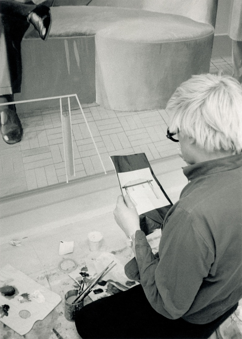 Hockney at work in his London studio, applying the finishing touches to Henry Geldzahler and Christopher Scott. Photo Basil Langton  Science Source. Artwork © David Hockney