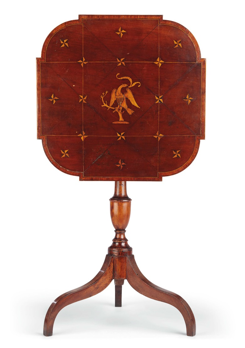 A Federal eagle-inlaid mahogany candle-stand, New York, 1795-1810. Estimate $8,000-12,000. To be offered in Important American Furniture, Folk Art, Silver and Prints on 17-18 January 2019 at Christie's New York