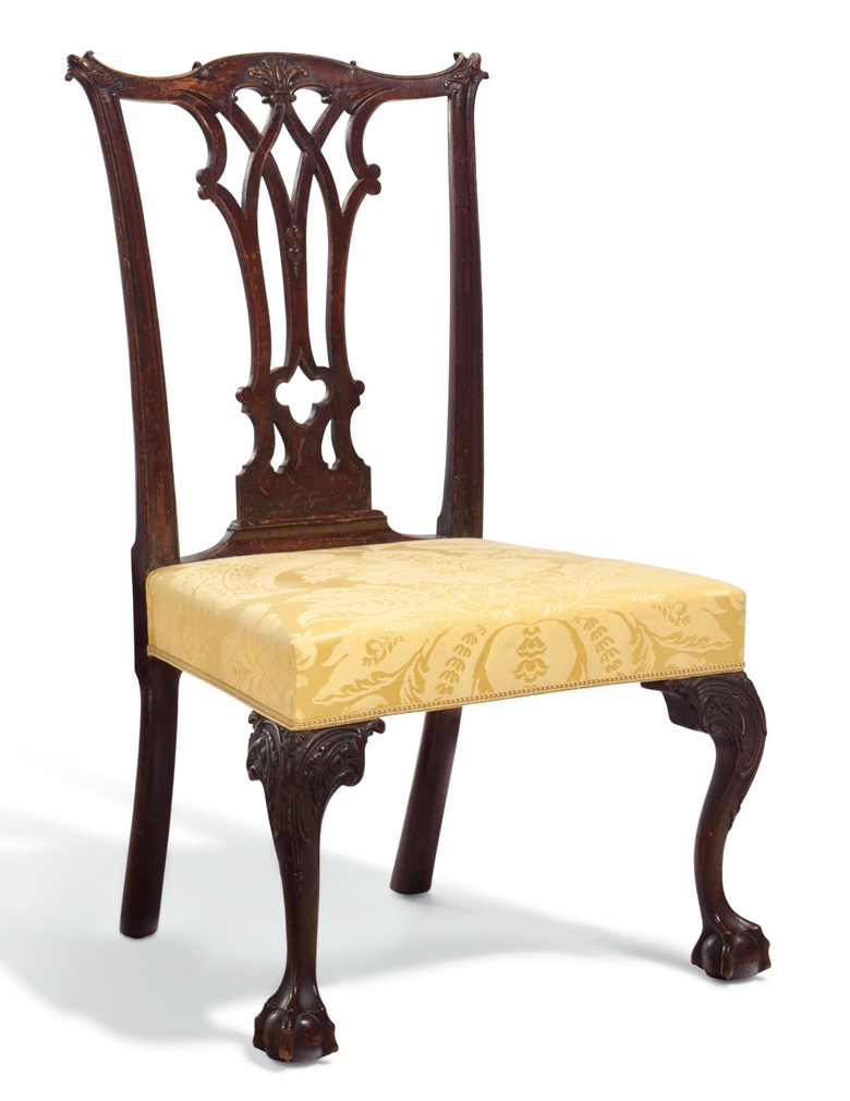 A Chippendale carved mahogany over-upholstered side chair. The carving attributed to John Pollard (1740-1787), possibly made in the shop of Benjamin Randolph (1737-1791), Philadelphia, circa 1770. Estimate $50,000-100,000. To be offered in Important American Furniture, Folk Art, Silver and Prints on 17-18 January 2019 at Christie's New York