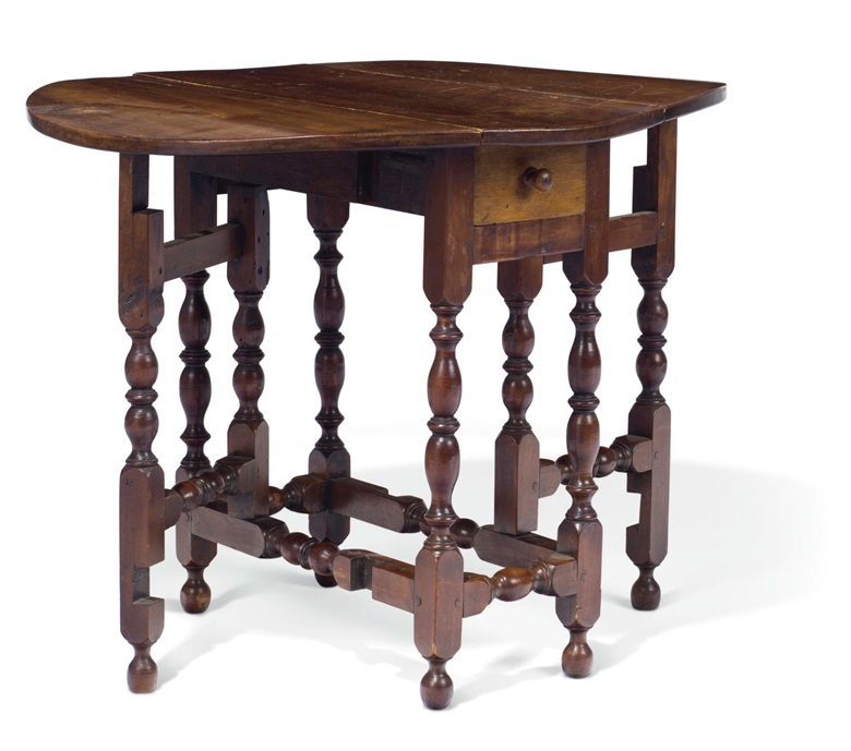 A William and Mary maple diminutive gate-leg table, Massachusetts or Rhode Island, 1710-1740. Estimate $12,000-18,000. To be offered in Important American Furniture, Folk Art, Silver and Prints on 17-18 January 2019 at Christie's New York