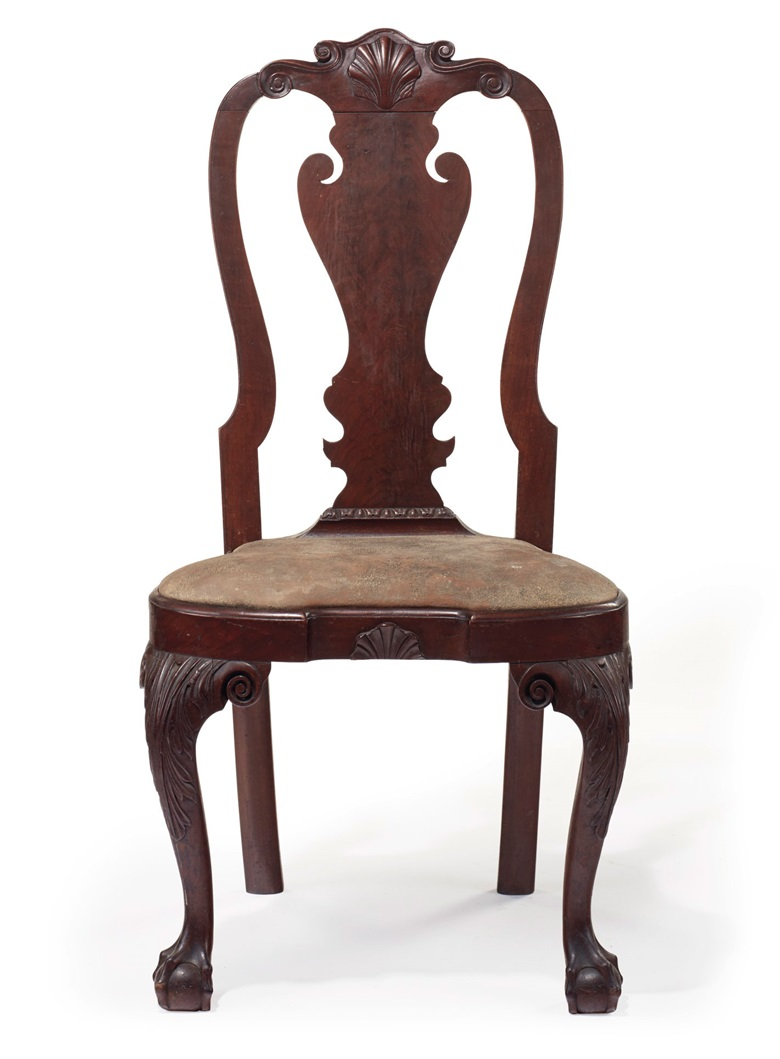 The Powel Grifs Family Queen Anne Carved Walnut Comp Seat Side Chair Philadelphia