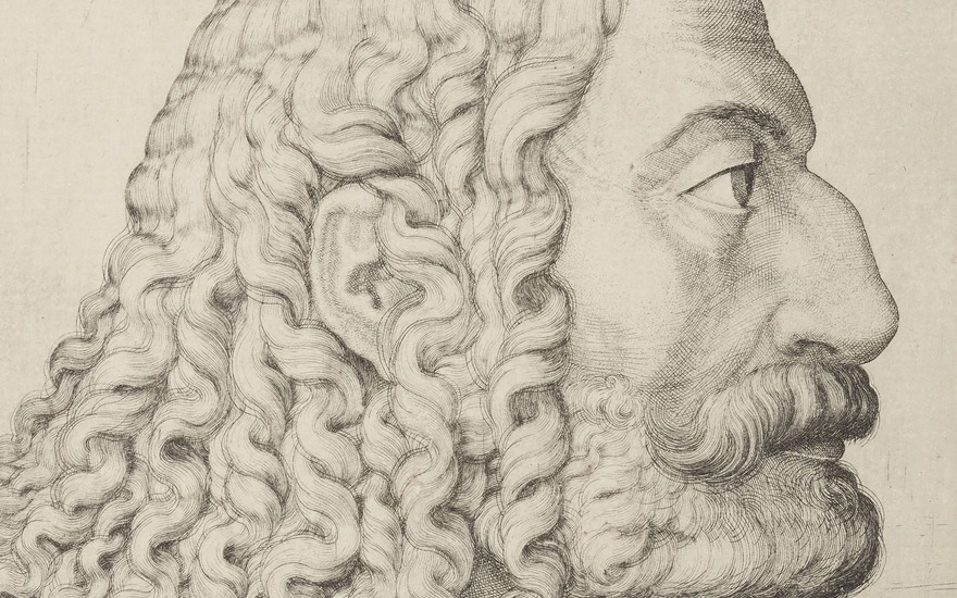 Melchior Lorck (152627 - after 1588), (detail of) Portrait of Albrecht Dürer. Plate 165 x 99  mm, Sheet 166 x 99  mm. Estimate $3,000-5,000. Offered in Old Master Prints on 29 January 2019