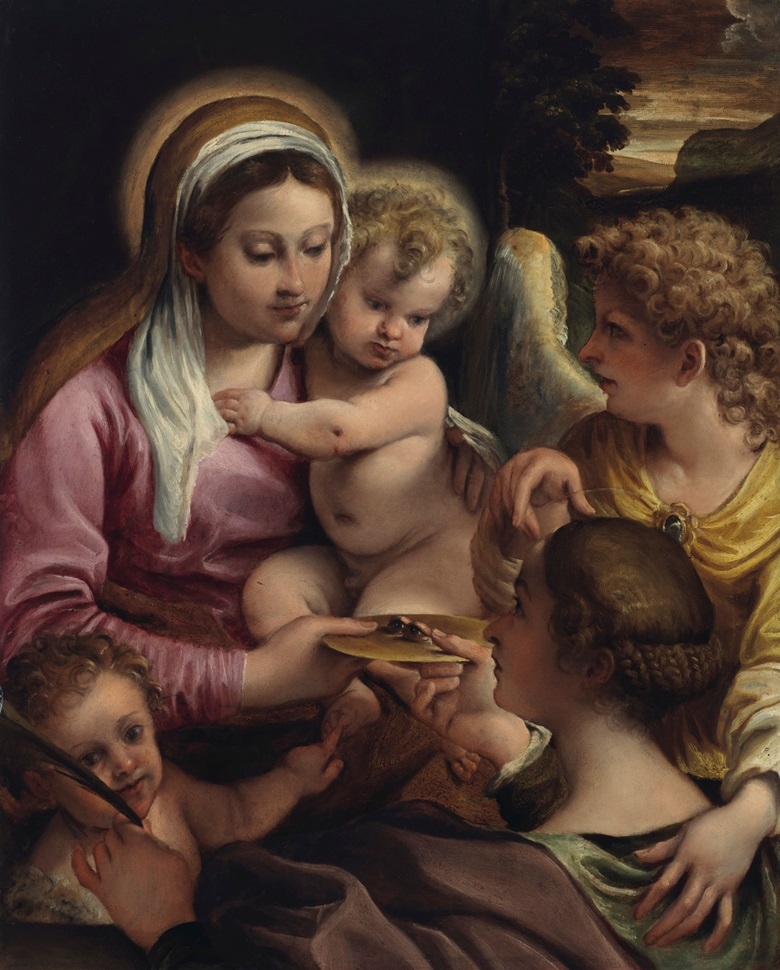 Annibale Carracci (1560-1609) Virgin and Child with Saint Lucy and the Young Saint John the Baptist. Oil on panel. 30⅞ x 24 1316 in (78.5 x 63 cm). Estimate on Request. Offered in Old Masters on 2 May at Christie's in New York