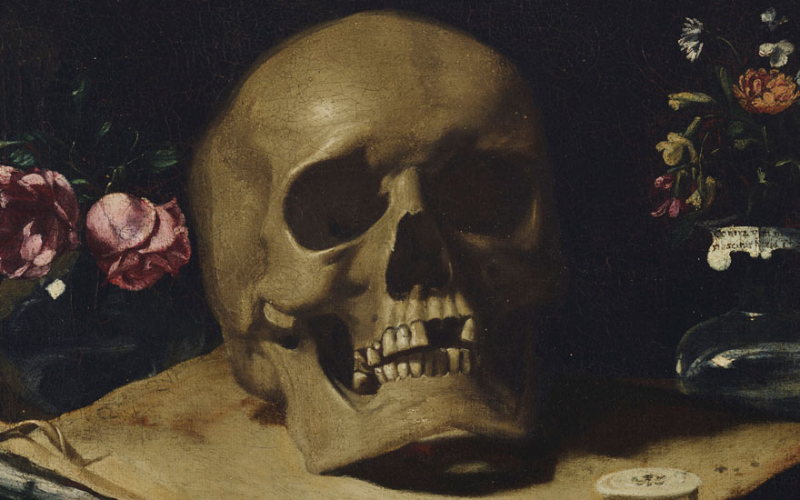 Detail of Giovanni Francesco Barbieri called Guercino (1591-1666), Vanitas Still Life. Oil on canvas. 12 1⁄16 x 15⅜ in (30.5 x 39 cm). Estimate on request. Offered in Old Masters on 2 May