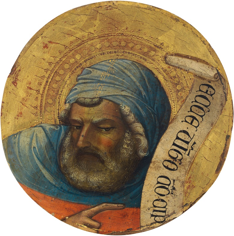 Lorenzo Monaco (1370-1425), The Prophet Isaiah. Tempera on panel. 7¾ in diameter (19.7 cm diameter). Estimate $1,500,000-2,500,000.  Offered in Old Masters on 2 May at Christie's in New York