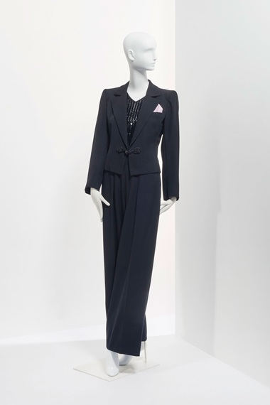 A black wool smoking jacket and trousers, Haute Couture circa 1982. Sold for €20,000 on 24 January at Christie's in Paris