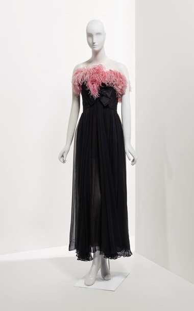 Evening dress in black mousseline, trimmed with pink ostrich feathers, AutumnWinter 1991-1992. Sold for €18,750 on 24 January at Christie's in Paris