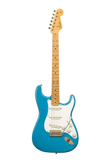 Fender Electric Instrument Company, Stratocaster, Fullerton CA, 1957. A solid-body electric guitar known as the Ex-Homer Haynes. Estimate $60,000-90,000. Offered in The David Gilmour Guitar Collection on 20 June at Christie's in New York