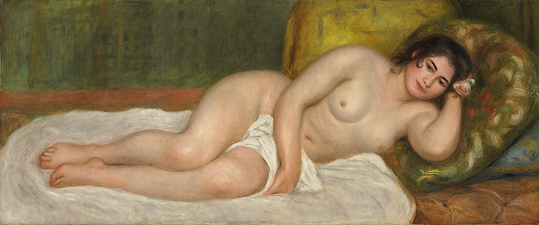Pierre-Auguste Renoir (1841-1919), Femme nue couchée, Gabrielle, painted in 1903. 25¾ x 61¼ in (65.3 x 155.3 cm). Sold for $10,162,500 on 4 May 2010 at Christie's in New York