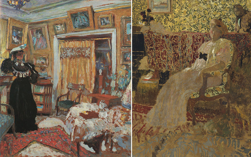 From left Édouard Vuillard, Intérieur, la dame en noir, circa 1904. Oil on board. 29 x 25 in (74 x 63.5 cm). Estimate £600,000-900,000; (Detail) Édouard Vuillard, La femme