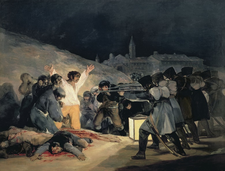 Goya y Lucientes, Execution of the Defenders of Madrid, 3rd May, 1808, 1814. Oil on canvas. 266 x 345 cm. Prado, Madrid, Spain  Bridgeman Images