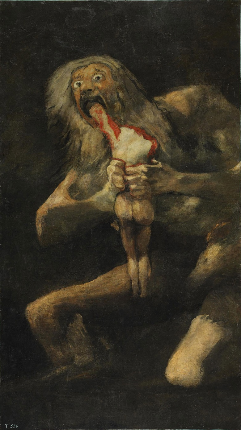 Goya y Lucientes, Saturn Devouring One of His Sons, 1821-23. Mural transferred to canvas. 143.5 x 81.4 cm. Prado, Madrid, Spain  Bridgeman Images